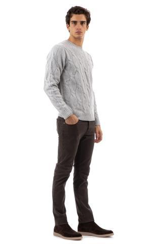 Maglia girocollo a trecce in lana-cashmere finezza 5