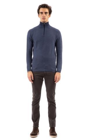 Maglia mezza zip in lana vergine