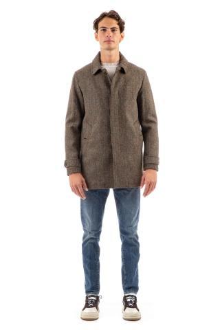 Cappotto in lana harris tweed mod. overcoat