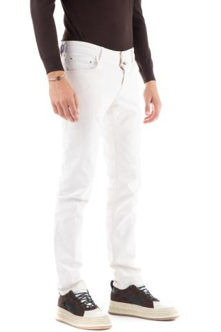 Jeans bianco con micro rotture nick slim fit