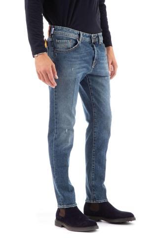 Jeans micro rotture etichetta camoscio scott fit