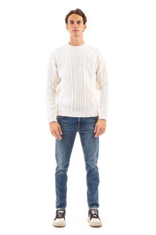Maglia girocollo con trecce in lana lambswool mod. the king of cool
