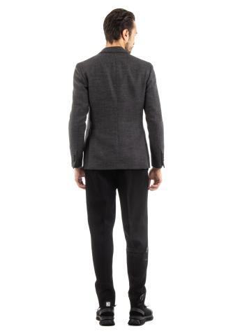 giacca doppiopetto in lana tramata