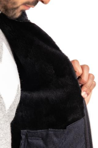 bomber bimaterico in seta-cashmere e interno montone