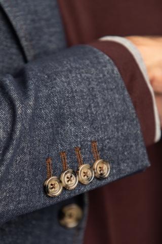 abito in jersey di cotone-lana effetto denim