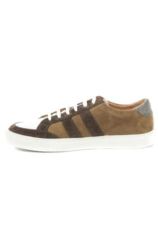 sneakers in pelle e camoscio con bande laterali