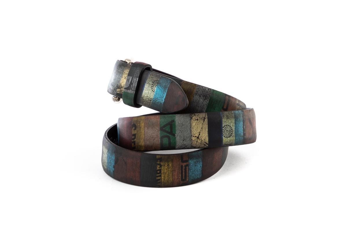 cintura artigianale a strisce verticali multicolor