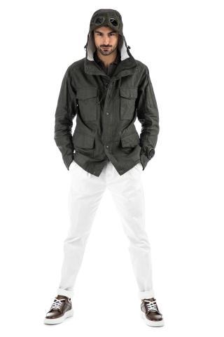 Field jacket in lino placcato modello la mille