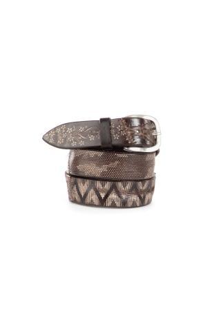 Cintura in pelle con disegni geometrici