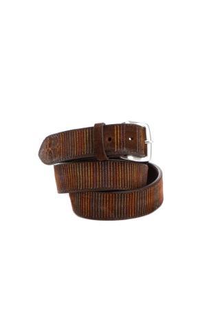 Cintura in camoscio con cuciture multicolor